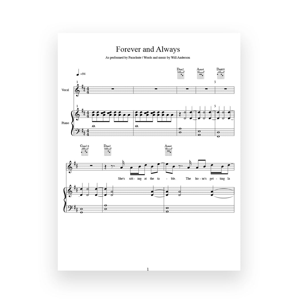 Forever and Always- Sheet Music for Vocal/Piano/Guitar