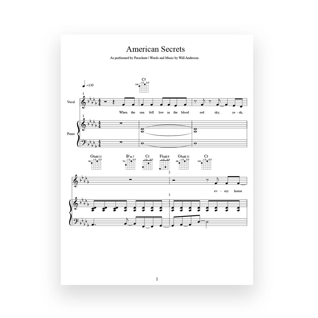 American Secrets- Sheet Music for Vocal/Piano/Guitar