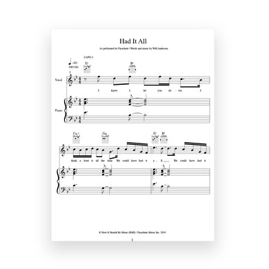 Had It All- Sheet Music for Vocal/Piano/Guitar