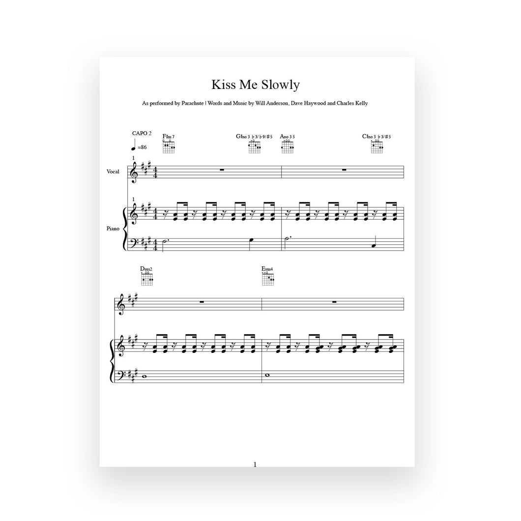 Kiss Me Slowly- Sheet Music for Vocal/Piano/Guitar