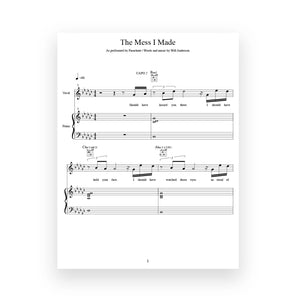 The Mess I Made- Sheet Music for Vocal/Piano with Guitar Tabs