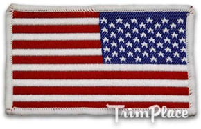 "AMERICAN FLAG WOVEN 2"" X 3-1/4"" HEAT SEAL APPLIQUE"