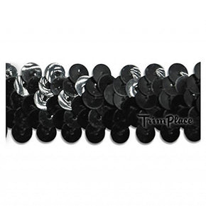 BLACK 7/8 INCH (2 ROW) STRETCH SEQUIN