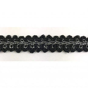 Trimplace Gimp Braid Trim 5/8 Inch Black/ Silver Metallic