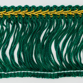 "Trimplace Hunter Green 2-1/2"" Chainette Fringe with Gold Gimp Header"