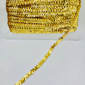 "Trimplace Gold 3/8"" Single Row Stretch Sequin"