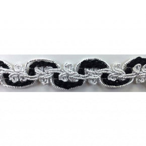 "BLACK/SILVER 5/8"" METALLIC FANCY SCROLL"