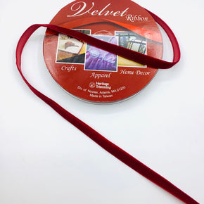 "Burgundy 3/8"" Velvet Ribbon"