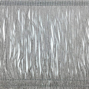 "Trimplace Gray 6"" Rayon Chainette Fringe"