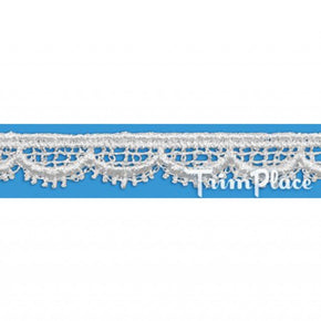 WHITE 3/8 INCH SCALLOPED VENICE