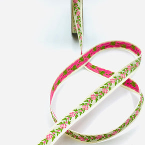 "White with Pink & Green Flowers 1/2"" Woven Edge Jacquard Ribbon"