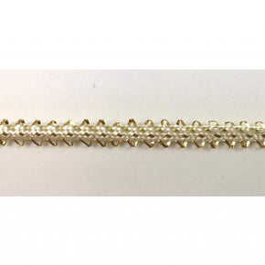 "Trimplace 1/4"" White/Gold Metallic Pico Edge Braid"