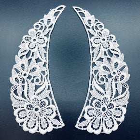 "White Vintage Venice Lace Collar (7"" H X 2"" W) - 3 Pairs"
