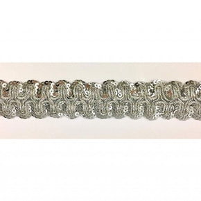 "Trimplace 1 3/8"" Silver Stretch Sequin Galloon"