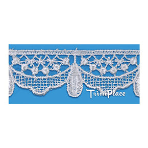 Trimplace 3/4 Inch White Teardrop Venice Lace