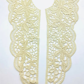"Natural Venice Lace Front Yoke Pair (12-1/2"" High X 4"" Wide) - 2 Pairs"