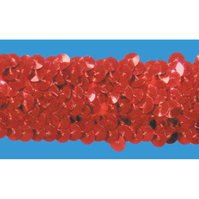 RED 1-1/4 INCH (3 ROW) STRETCH SEQUIN-NEW!!!! LOW PRICE