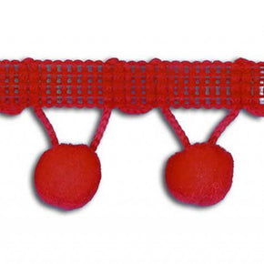 "Red 1-1/4"" Ball Fringe with 1/2"" Pom Pom"