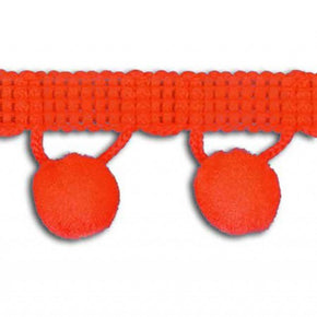 "Orange 1-1/4"" Ball Fringe with 1/2"" Pom Pom"