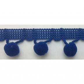 "ROYAL 1-1/4 INCH BALL FRINGE WITH 1/2"" POM POM"