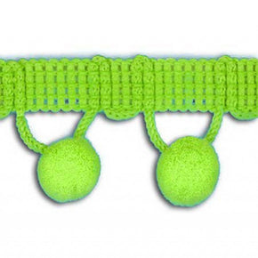 "Lime 1-1/4 Inch Ball Fringe with 1/2"" Pom Pom"