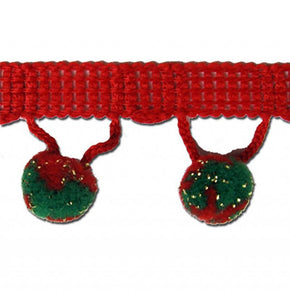"Green/Red/Gold 1-1/4"" Ball Fringe with 1/2"" Pom Pom"