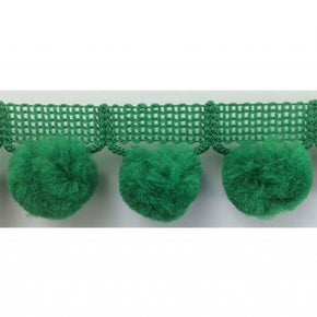 "EMERALD  1-1/4"" JUMBO BALL FRINGE WITH 1"" POM POM"