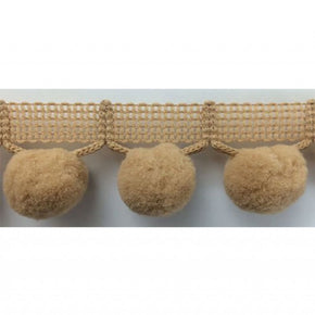 "SAND  1-1/4"" JUMBO BALL FRINGE WITH 1"" POM POM"