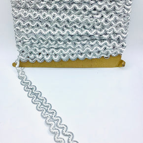 "White/Silver 1/2"" Ric Rac Sequin Trim"