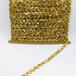 TRIMPLACE 1/2 Inch Gold Sequin Ric Rac Trim