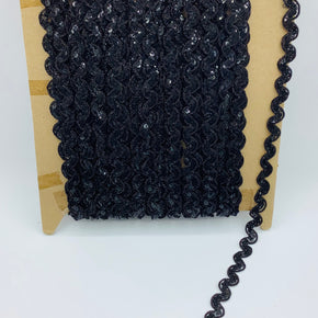 "Black 1/2"" Ric Rac Sequin Trim"