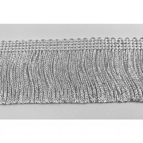 Trimplace 2 inch White/Silver Metallic Chainette Fringe