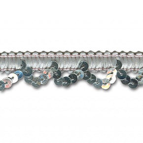 SILVER 5/8 INCH STRETCH SEQUIN LOOP