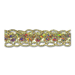 GOLD HOLOGRAM 5/8 INCH SEQUIN GUIMP TRIM