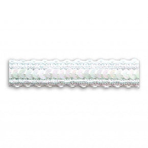 WHITE / IRIS / WHITE 1/2 INCH SEQUIN TRIM