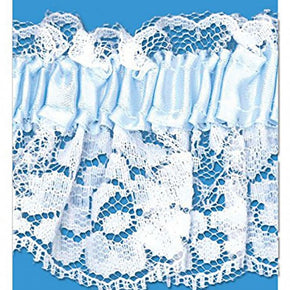 BLUE 2-1/4 INCH ELASTICIZED STRETCH GARTER LACE