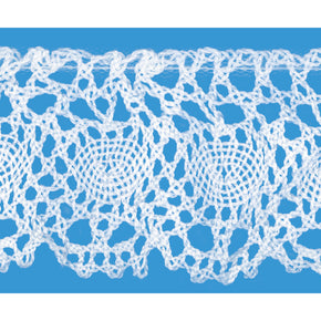 White 1 1/2 Inch Ruffled Cluny Lace Edge