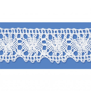 White 1 Inch Oval Cluny Lace Edge