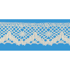 Natural 1-1/2 Inch 100% Cotton Cluny Lace Edge