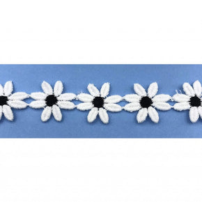 "Trimplace White/Black 1"" Daisy Venice Lace"