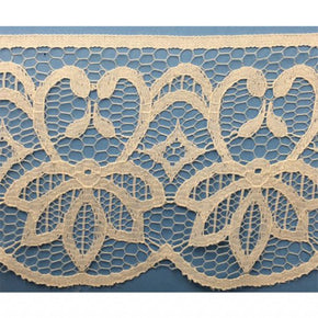 "NATURAL 3-3/4"" FLAT BATTENBURG RASCHEL LACE"
