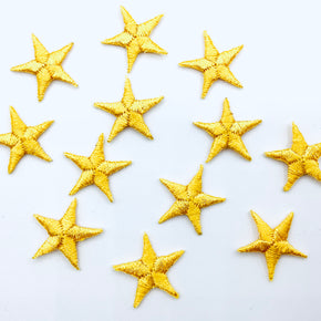 "Gold 5/8"" Star Iron-on Embroidered Applique"