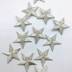 "Silver Metallic 1-5/8"" Embroidered Star Applique"