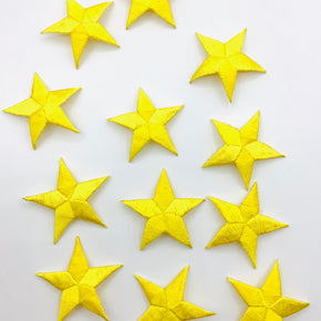 "Yellow 1-5/8"" Embroidered Star Applique"