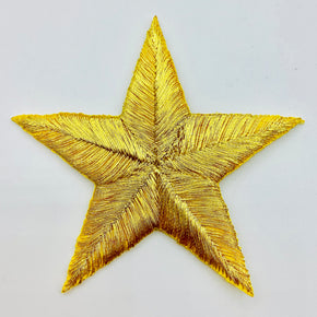 "Gold Metallic 2-3/4"" Star Iron-on Embroidered Applique"
