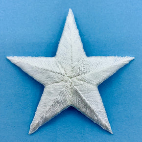 "White 2-3/4"" Star Iron-on Embroidered Applique"
