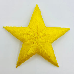"Yellow 2-3/4"" Star Iron-on Embroidered Applique"