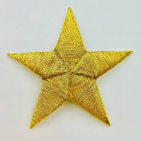 "Gold Metallic 2"" Star Iron-on Embroidered Applique"