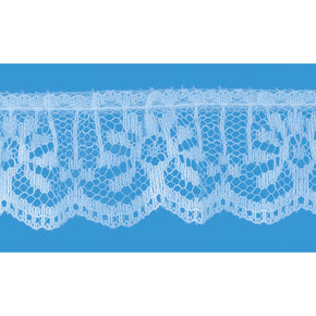 Blue 1 Inch Ruffled Vertical Lace