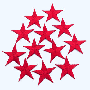 "Red 1-1/4"" Embroidered Star Applique"